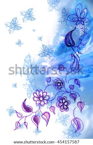 White and blue background with butterflies - stock photo
