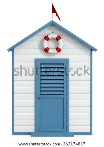 White and blue beach cabin with closed door,buoy and little red flag - 3D Rendering - stock photo