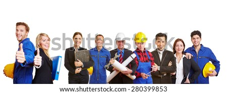 White and blue collar worker as a team holding thumbs up - stock photo