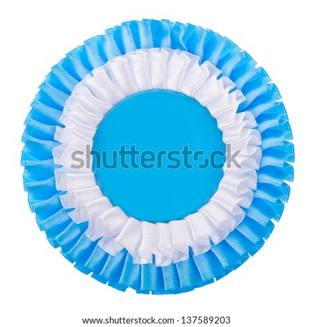 white and blue color   ribbon is a symbol for success and first prize  isolated on white background - stock photo