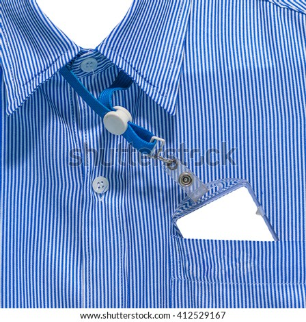 white and blue lined pattern design on office shirt with Blank ID card - stock photo