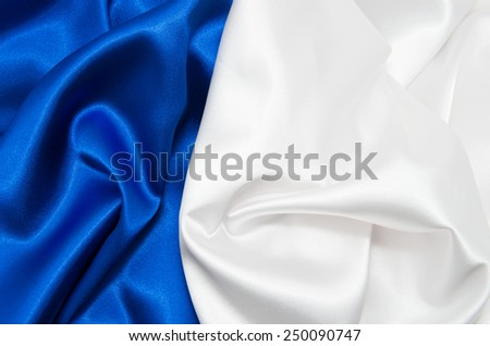 white and blue satin fabric for background - stock photo