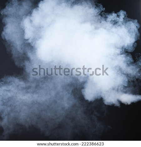 white and blue smoke isolated on black background - stock photo