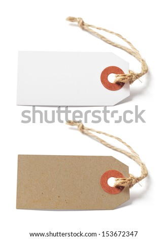 White and brown blank tags isolated on white background - stock photo