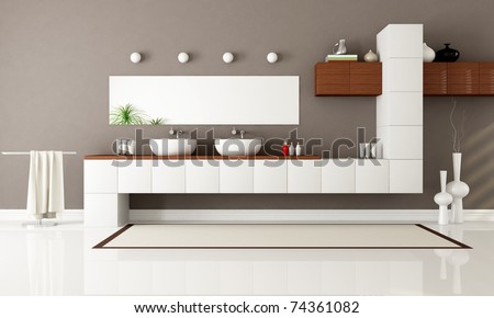 white and brown contemporary bathroom with two sink - rendering - stock photo