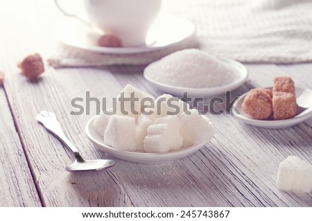 white and brown sugar - stock photo