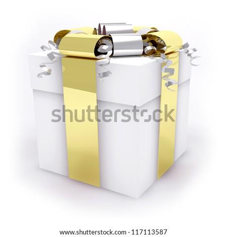 white and gold gift box - stock photo