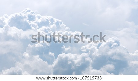 White and gray clouds in blue sky. - stock photo