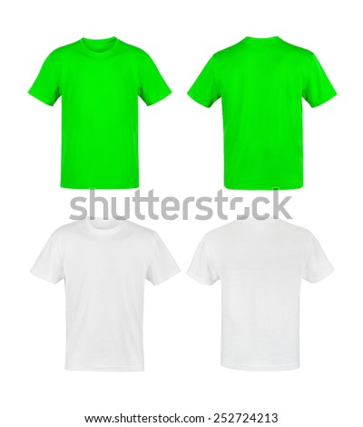white and green shirts isolated on white - stock photo
