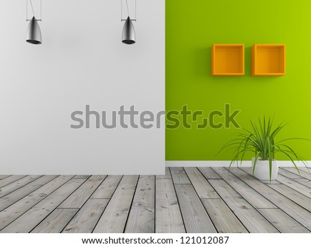 white and green wall - stock photo