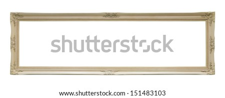 White and long classic frame isolated on white background   - stock photo