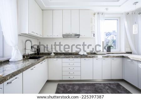 White and modern kitchen - stock photo