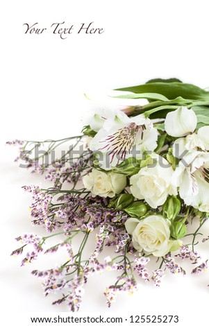 White and pink flowers on white background - stock photo