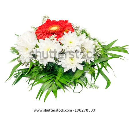 White and red Chrysanthemum flowers, mums or chrysanths, floral arrangement - stock photo