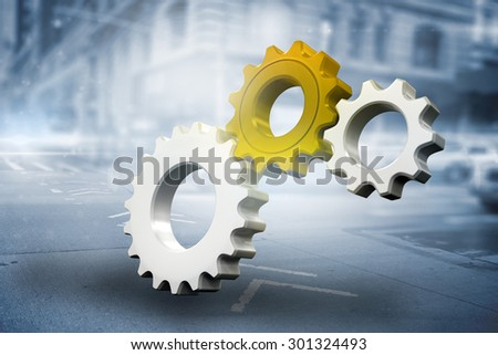 White and red cogs and wheels against blurred new york street - stock photo