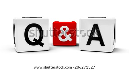 White and red cubes - questions and answers - isolated on white, three-dimensional rendering - stock photo