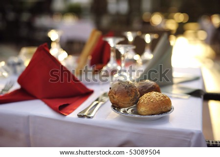 White and red festive table arrangement - stock photo