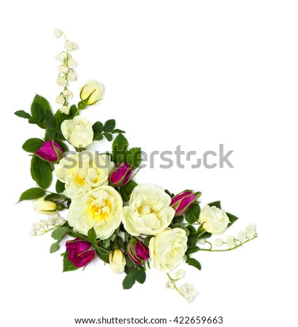 White and red roses (Burnet double white, shrub rose) and lily of the valley on a white background with space for text. Flat lay - stock photo