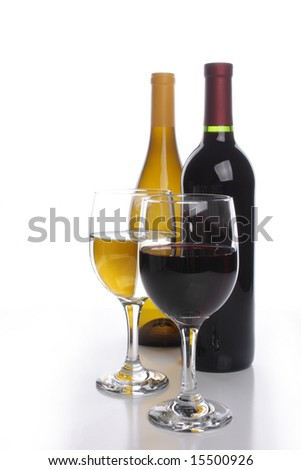 White and red wine bottles with two glasses - stock photo