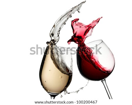 White and red wine splash - stock photo