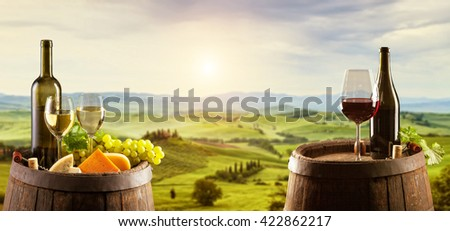 White and red wine with wooden barrel on vineyard in Tuscany, Italy - stock photo
