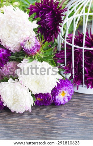 white and violet aster flowers on table  - stock photo