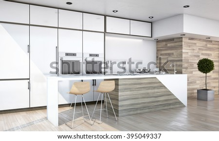 White and Wood Colors Kitchen with Bar Countertop 3D rendering. - stock photo