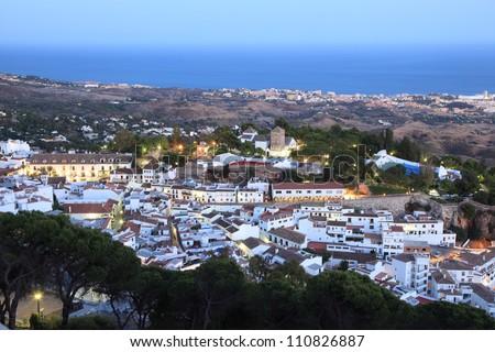 White Andalusian village Mijas Pueblo. Province of Malaga, Spain - stock photo