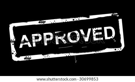 White approved stamp over black background. Illustration - stock photo