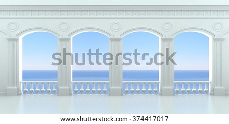 White arcade with a balustrade overlooking the ocean - stock photo