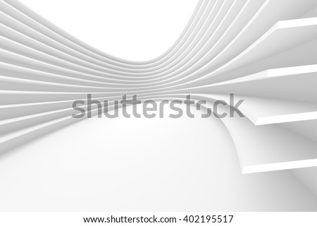 White Architecture Circular Background. Abstract Building Design. 3d Modern Architecture Render - stock photo