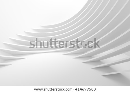 White Architecture Circular Background. Abstract Interior Design. 3d Modern Architecture Render. Futuristic Building Construction - stock photo