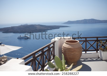 White architecture  on Santorini island - stock photo