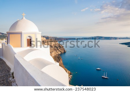 White architecture on Santorini island, Greece.  Beautiful landscape with sea view at sunset - stock photo