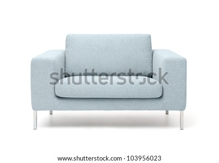 white armchair isolated on white background - stock photo