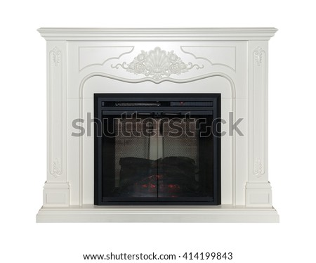 White artificial fireplace isolated on white background - stock photo