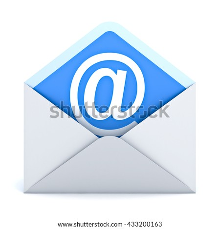 White at sign mail in envelope E mail concept isolated on white background. 3D rendering. - stock photo