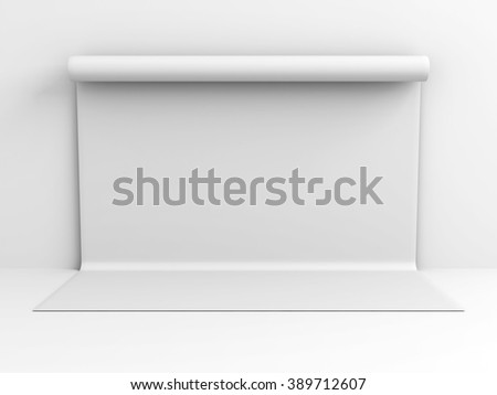White Backdrop Wall Abstract Studio Background. 3d Render Illustration - stock photo