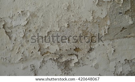 White background. Old paint cracked. Scratched background. Background in grunge style. Moist issue probably due to water piping leaking problem - stock photo