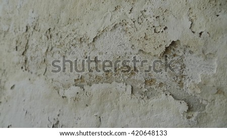 White background. Old paint cracked. Scratched background. Background in grunge style. Need to resolve water piping leaking moist issue - stock photo