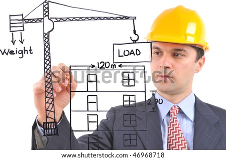 White background studio image of a architect drawing a crane and building on glass - stock photo