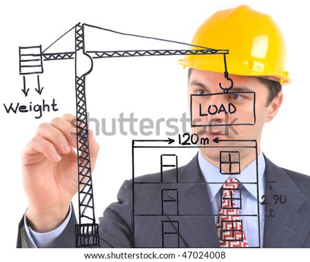 White background studio image of an architect drawing a crane and house  on glass - stock photo