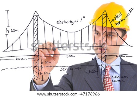 White background studio image of an engineer drawing suspension bridge on glass - stock photo