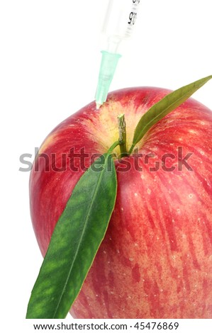 White background vertical high resolution image of a genetically modified apple concept - stock photo