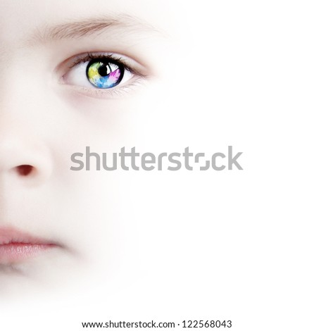 White Background With Beauty Child's Colorful Eye With Map - stock photo