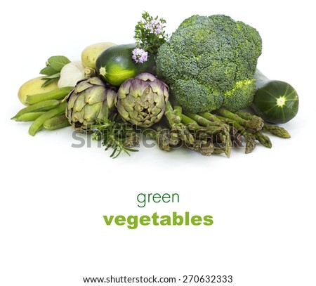 White background  with Fresh green spring vegetables  - stock photo