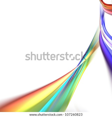 White background with streaks of colorful rainbow swooshes flowing across the layout. - stock photo