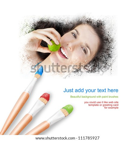 White background with three paintbrushes painting portrait of happy pretty woman - stock photo