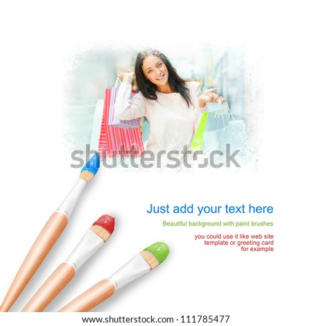 White background with three paintbrushes painting young woman with shopping bags - stock photo