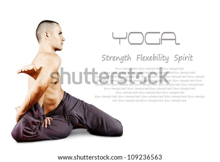 White background with young man doing yoga pose - stock photo